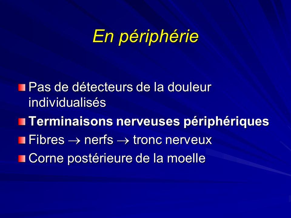 En périphérie Pas de détecteurs de la douleur individualisés