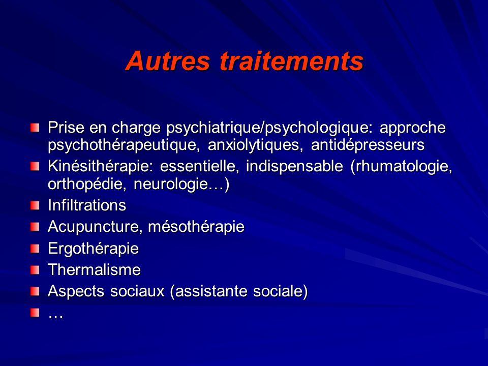 Autres traitementsPrise en charge psychiatrique/psychologique: approche psychothérapeutique, anxiolytiques, antidépresseurs.