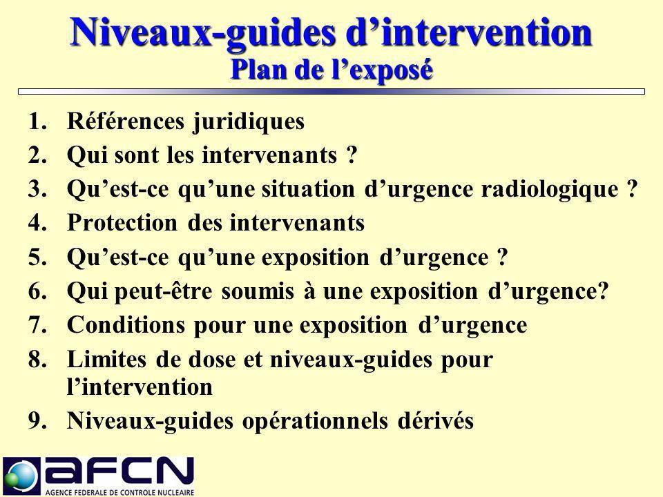 Niveaux-guides d'intervention Plan de l'exposé
