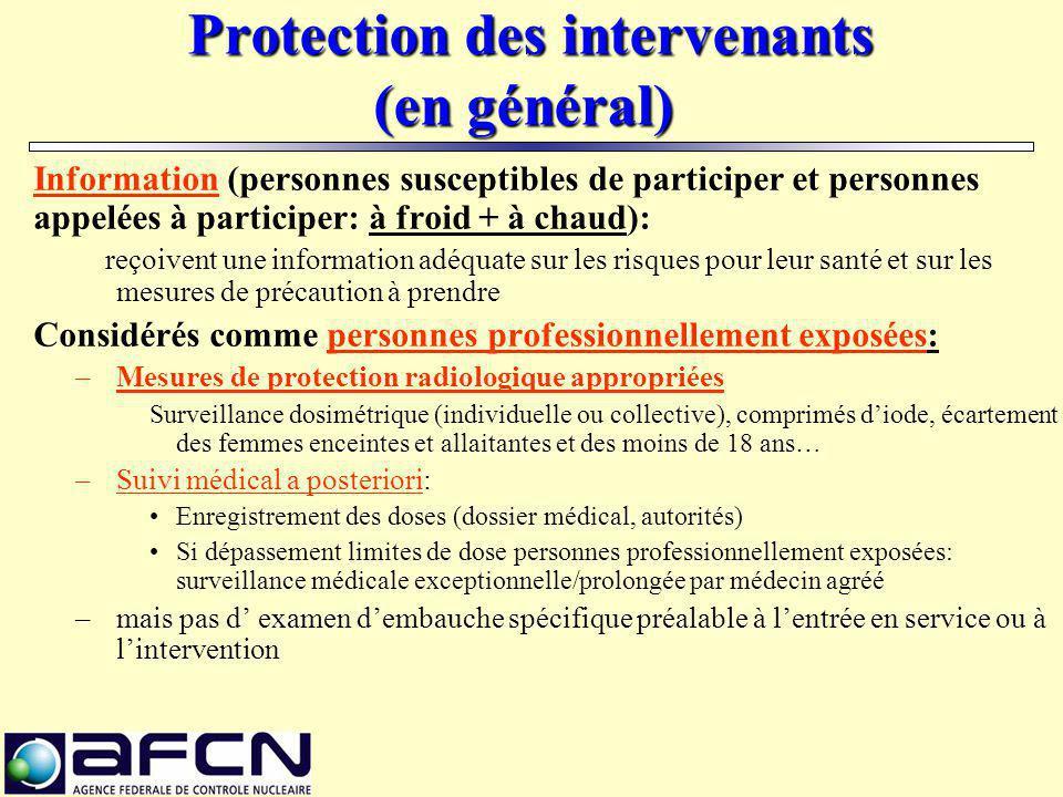 Protection des intervenants (en général)