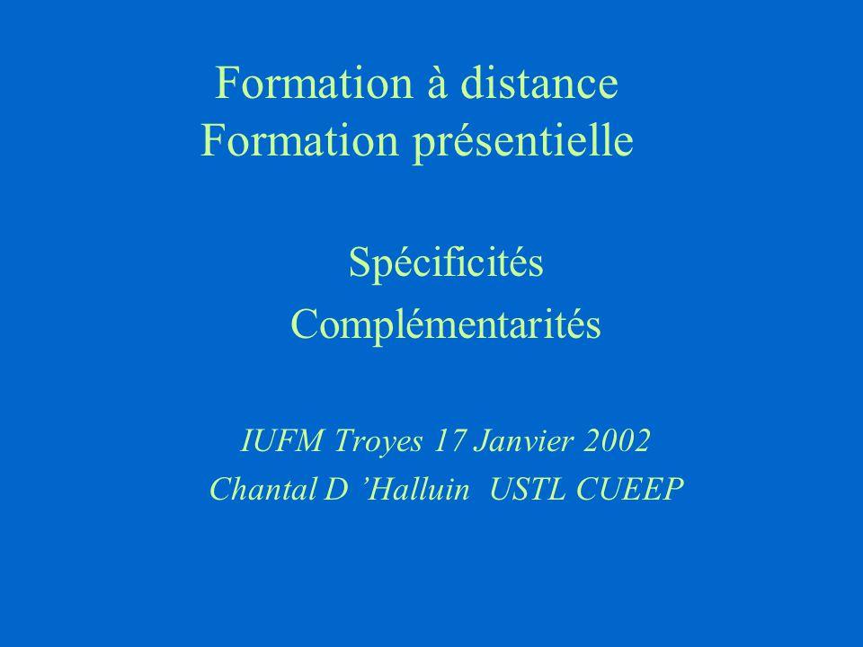 Formation à distance Formation présentielle