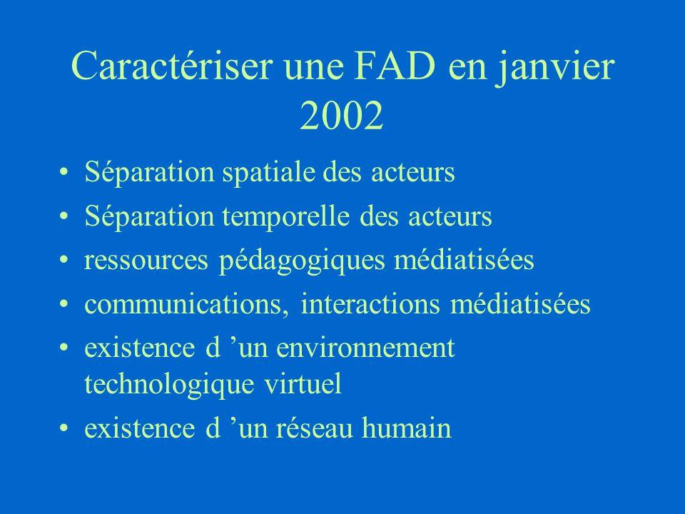 Caractériser une FAD en janvier 2002