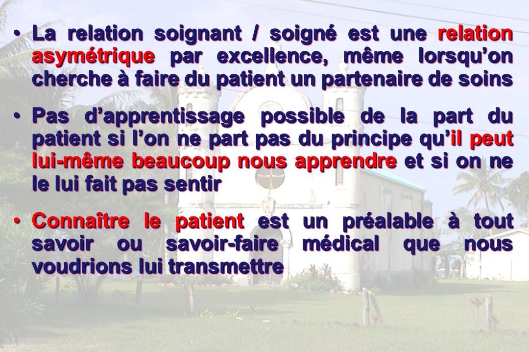La relation soignant / soigné est une relation asymétrique par excellence, même lorsqu'on cherche à faire du patient un partenaire de soins