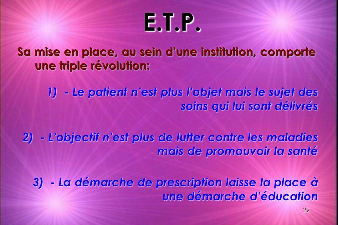 E.T.P. Sa mise en place, au sein d'une institution, comporte une triple révolution: