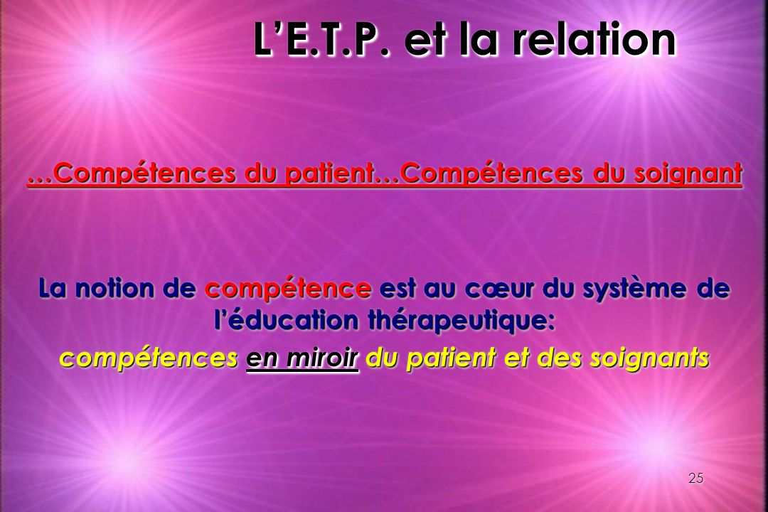 L'E.T.P. et la relation …Compétences du patient…Compétences du soignant.