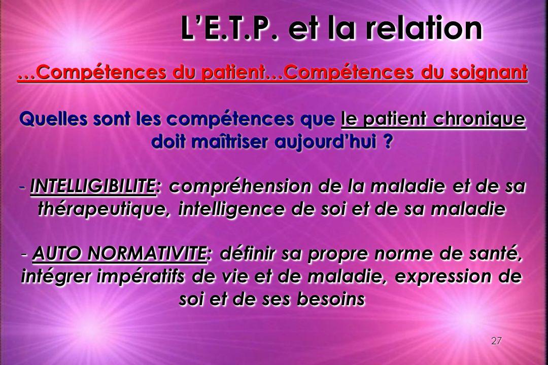 …Compétences du patient…Compétences du soignant
