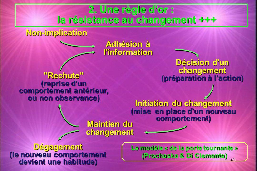 Une règle d'or : la résistance au changement +++