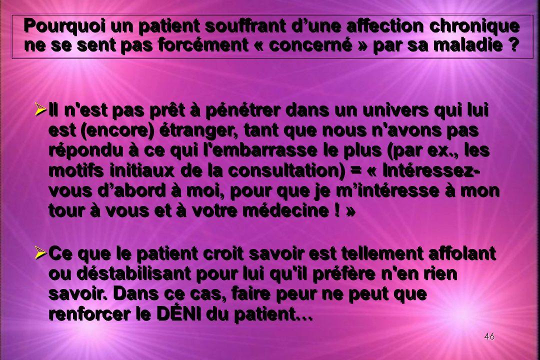 Pourquoi un patient souffrant d'une affection chronique ne se sent pas forcément « concerné » par sa maladie