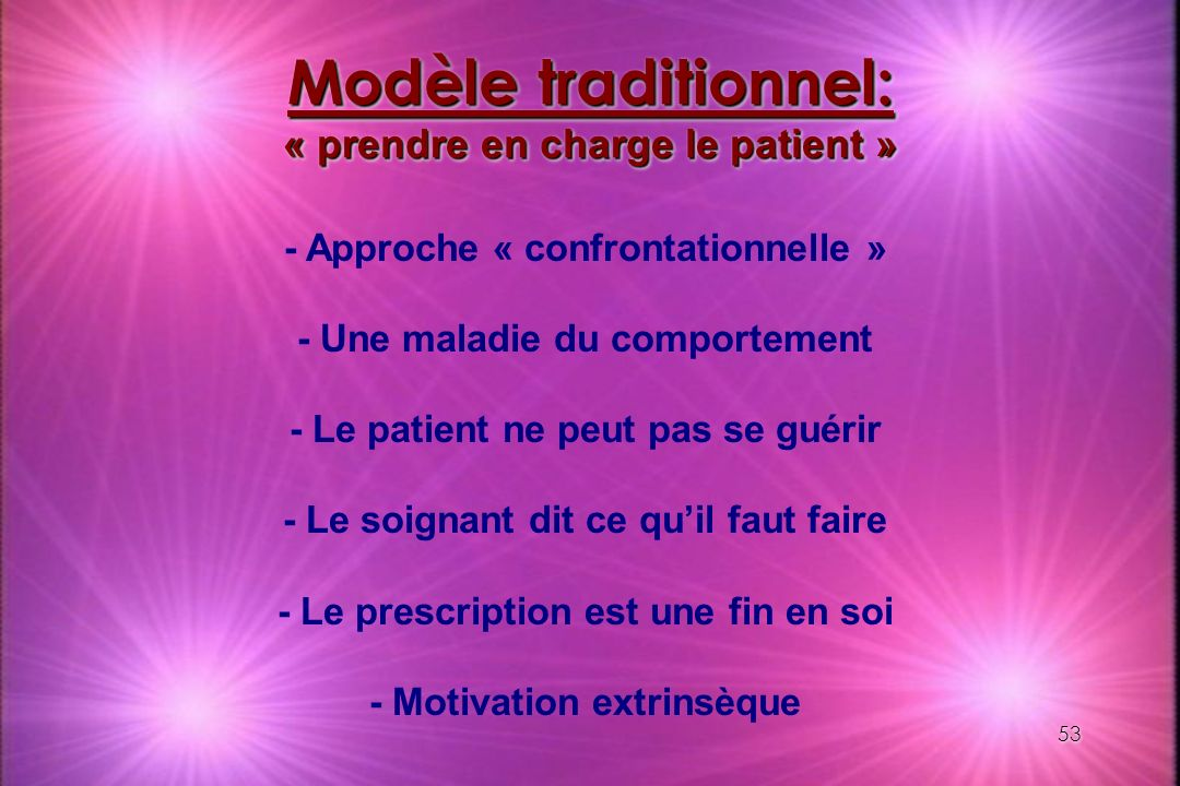 Modèle traditionnel: « prendre en charge le patient »