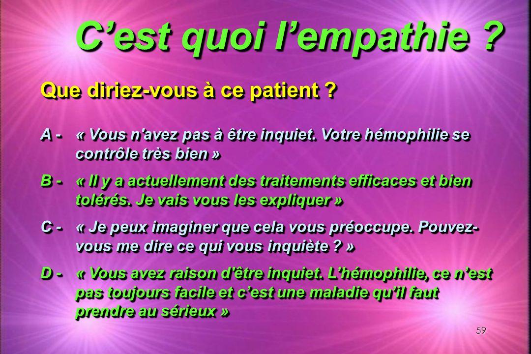 C'est quoi l'empathie Que diriez-vous à ce patient