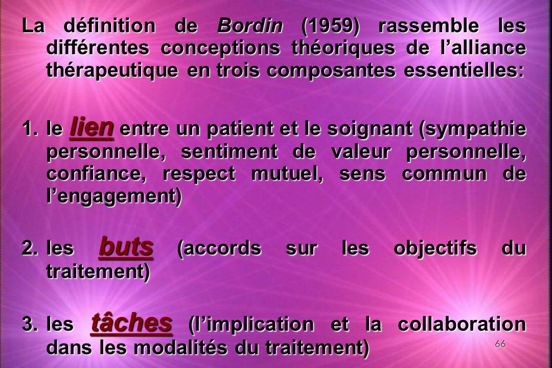 La définition de Bordin (1959) rassemble les différentes conceptions théoriques de l'alliance thérapeutique en trois composantes essentielles: