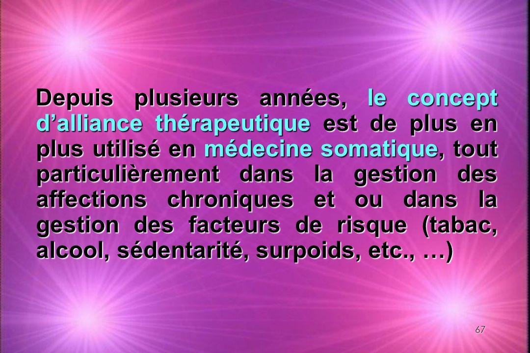 Depuis plusieurs années, le concept d'alliance thérapeutique est de plus en plus utilisé en médecine somatique, tout particulièrement dans la gestion des affections chroniques et ou dans la gestion des facteurs de risque (tabac, alcool, sédentarité, surpoids, etc., …)