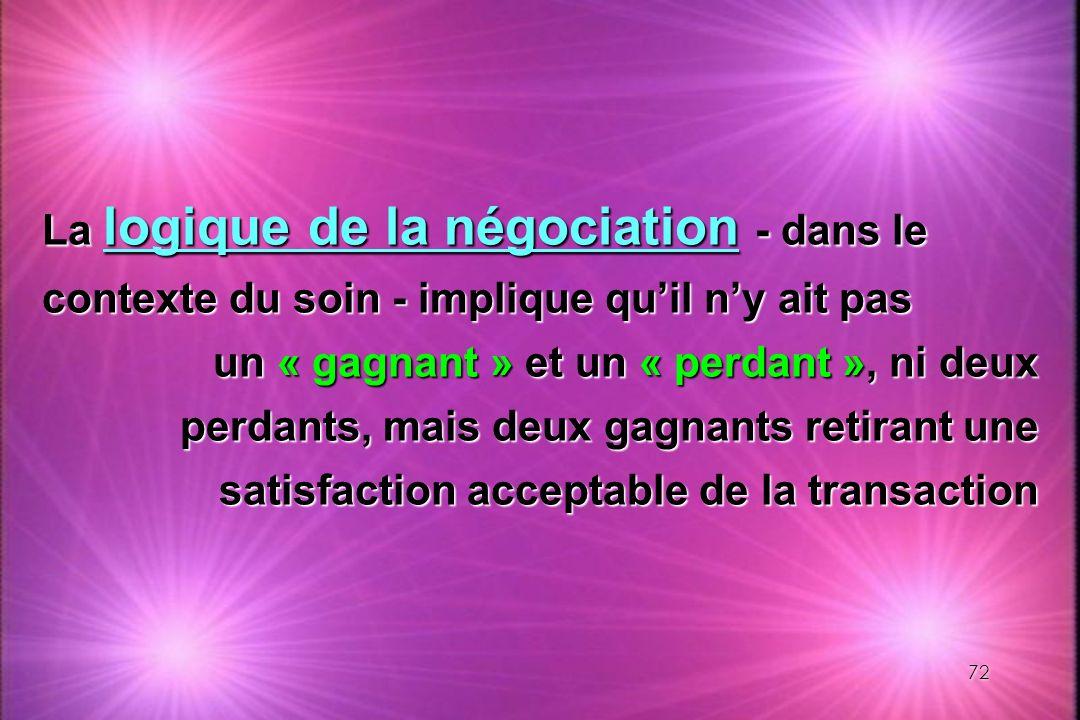 La logique de la négociation - dans le contexte du soin - implique qu'il n'y ait pas