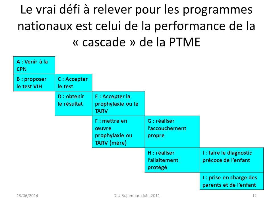 Le vrai défi à relever pour les programmes nationaux est celui de la performance de la « cascade » de la PTME