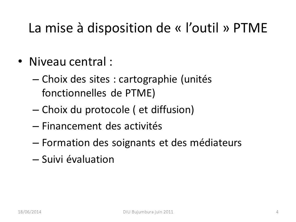 La mise à disposition de « l'outil » PTME