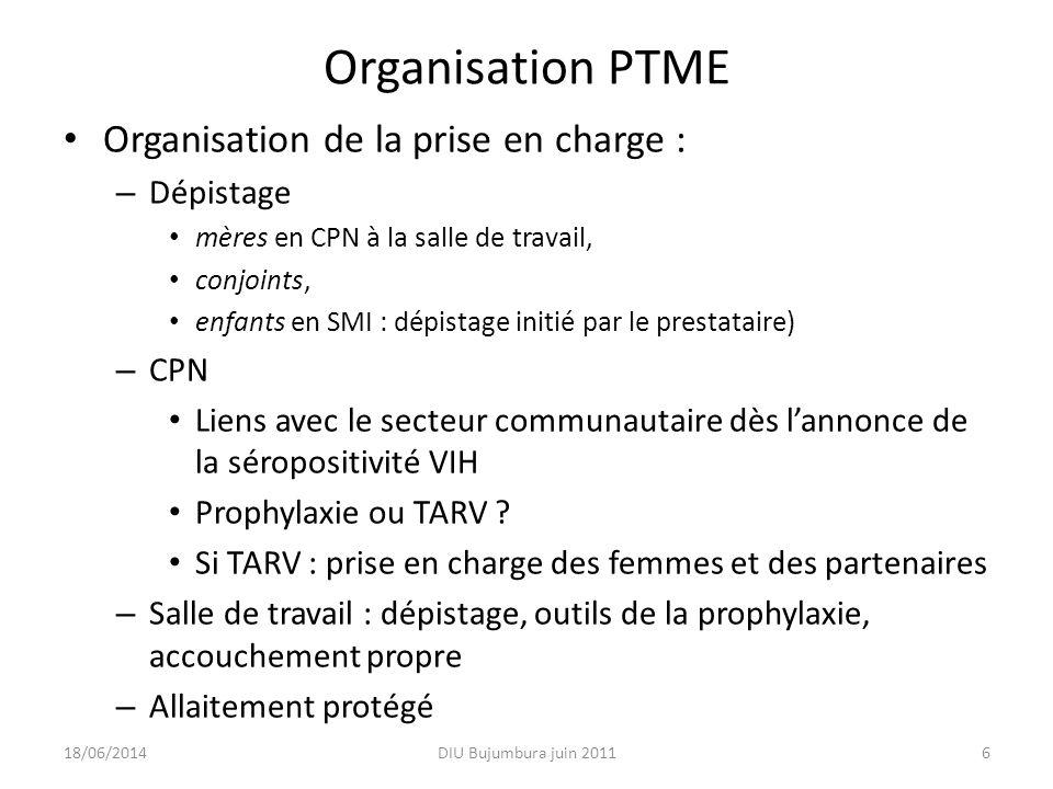 Organisation PTME Organisation de la prise en charge : Dépistage CPN