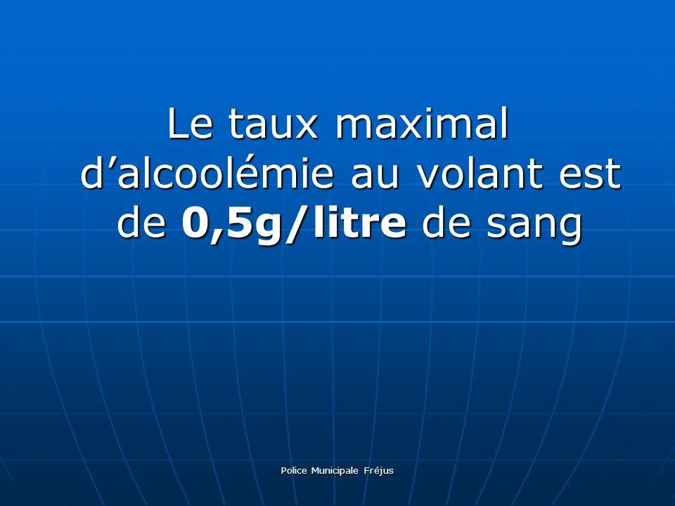Le taux maximal d'alcoolémie au volant est de 0,5g/litre de sang
