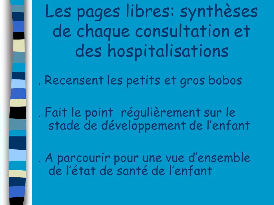 Les pages libres: synthèses de chaque consultation et des hospitalisations