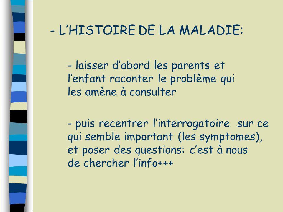 - L'HISTOIRE DE LA MALADIE: