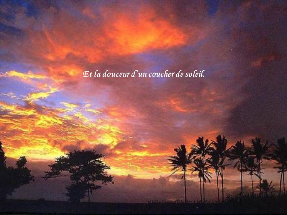 Et la douceur d'un coucher de soleil.