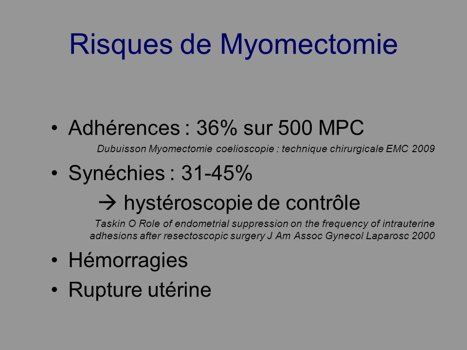 Risques de Myomectomie