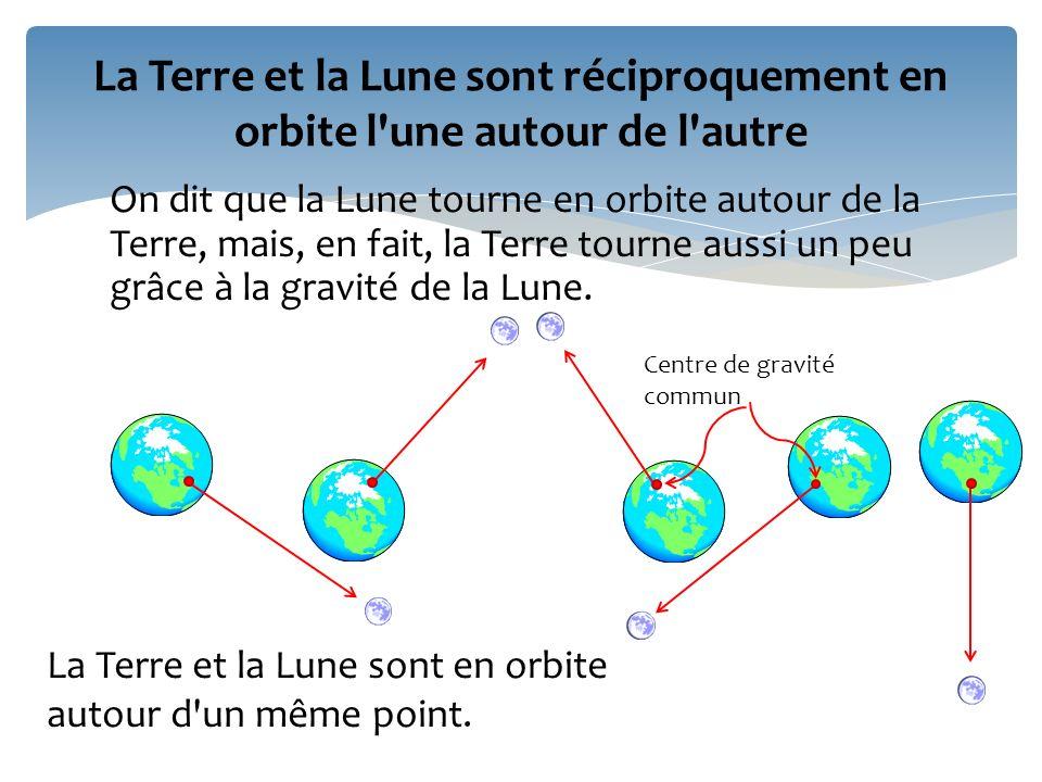 La Terre et la Lune sont réciproquement en orbite l une autour de l autre
