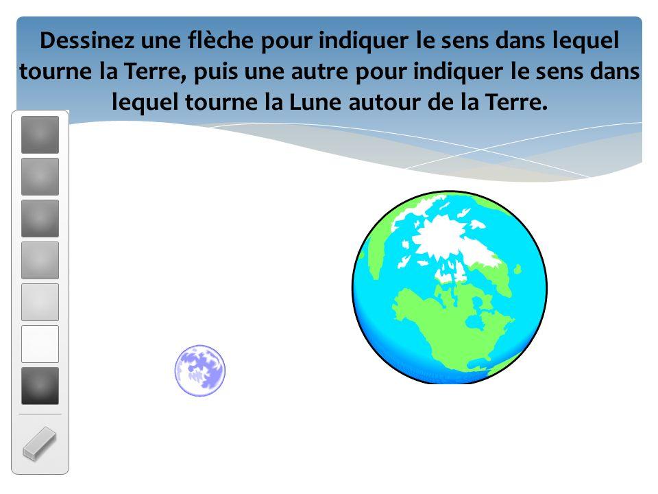 Dessinez une flèche pour indiquer le sens dans lequel tourne la Terre, puis une autre pour indiquer le sens dans lequel tourne la Lune autour de la Terre.