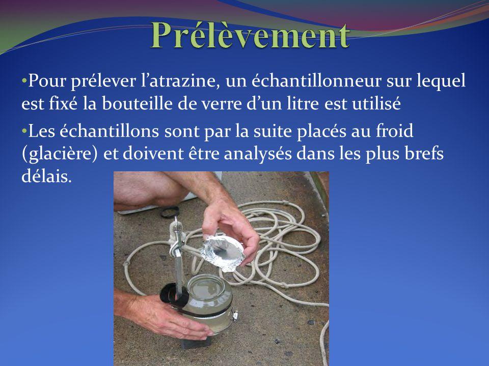 Prélèvement Pour prélever l'atrazine, un échantillonneur sur lequel est fixé la bouteille de verre d'un litre est utilisé.