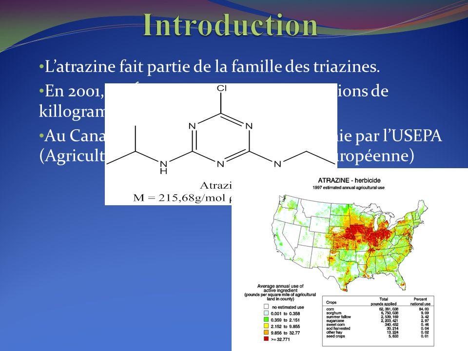 Introduction L'atrazine fait partie de la famille des triazines.