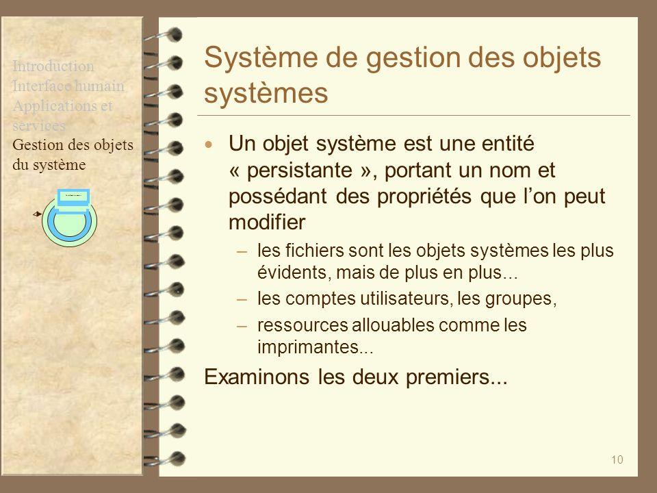 Système de gestion des objets systèmes