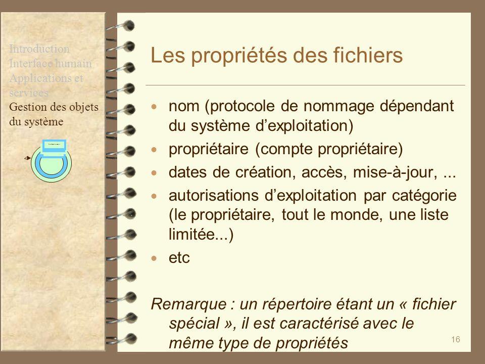 Les propriétés des fichiers