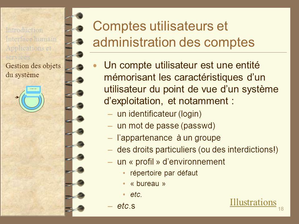 Comptes utilisateurs et administration des comptes