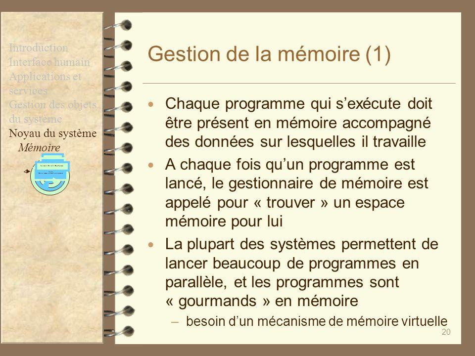 Gestion de la mémoire (1)