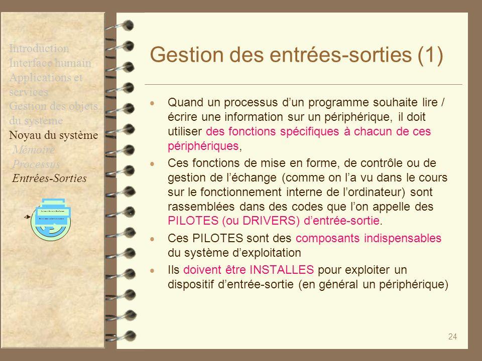 Gestion des entrées-sorties (1)
