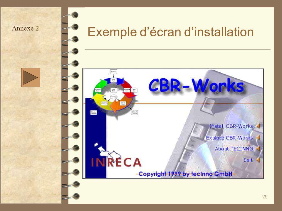 Exemple d'écran d'installation