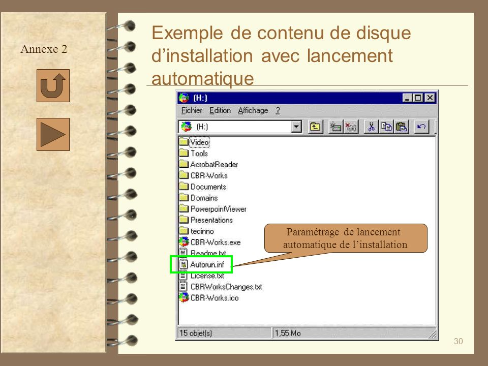 Exemple de contenu de disque d'installation avec lancement automatique