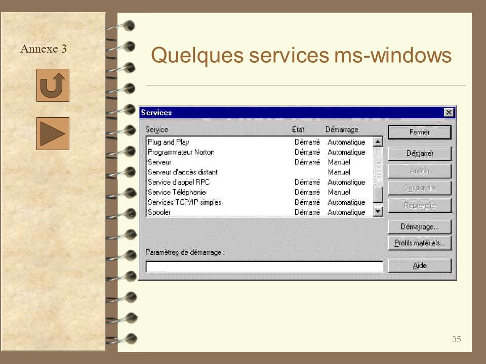 Quelques services ms-windows