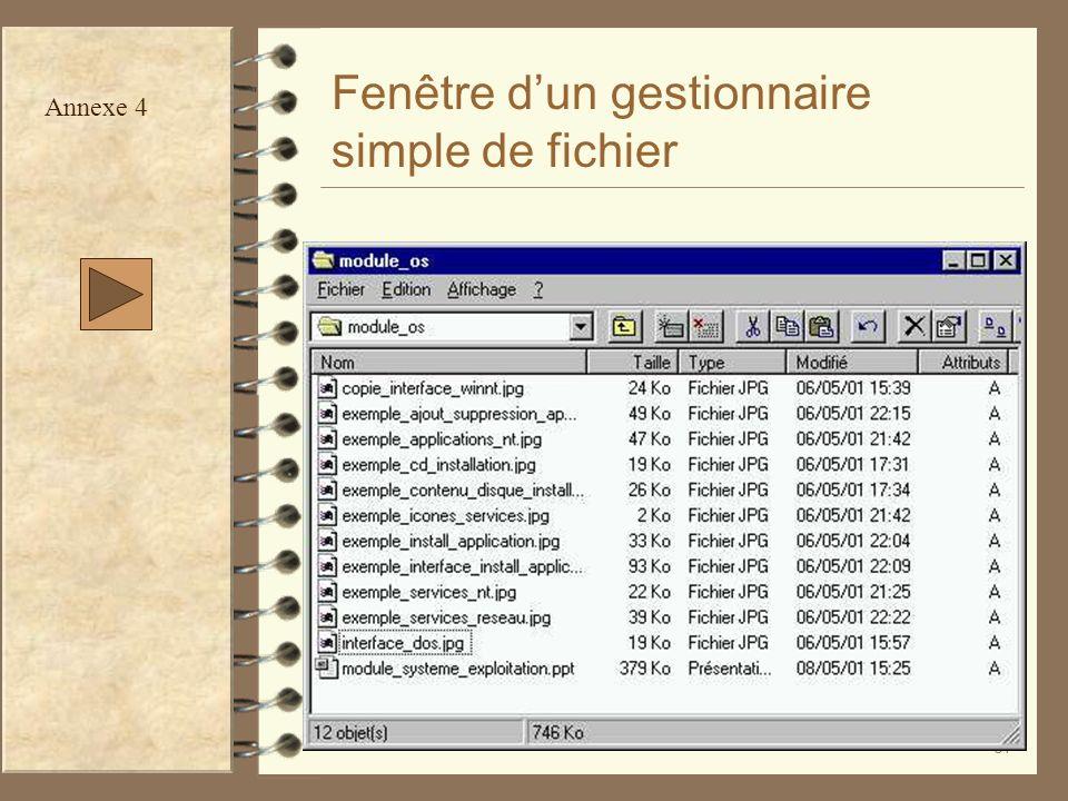 Fenêtre d'un gestionnaire simple de fichier