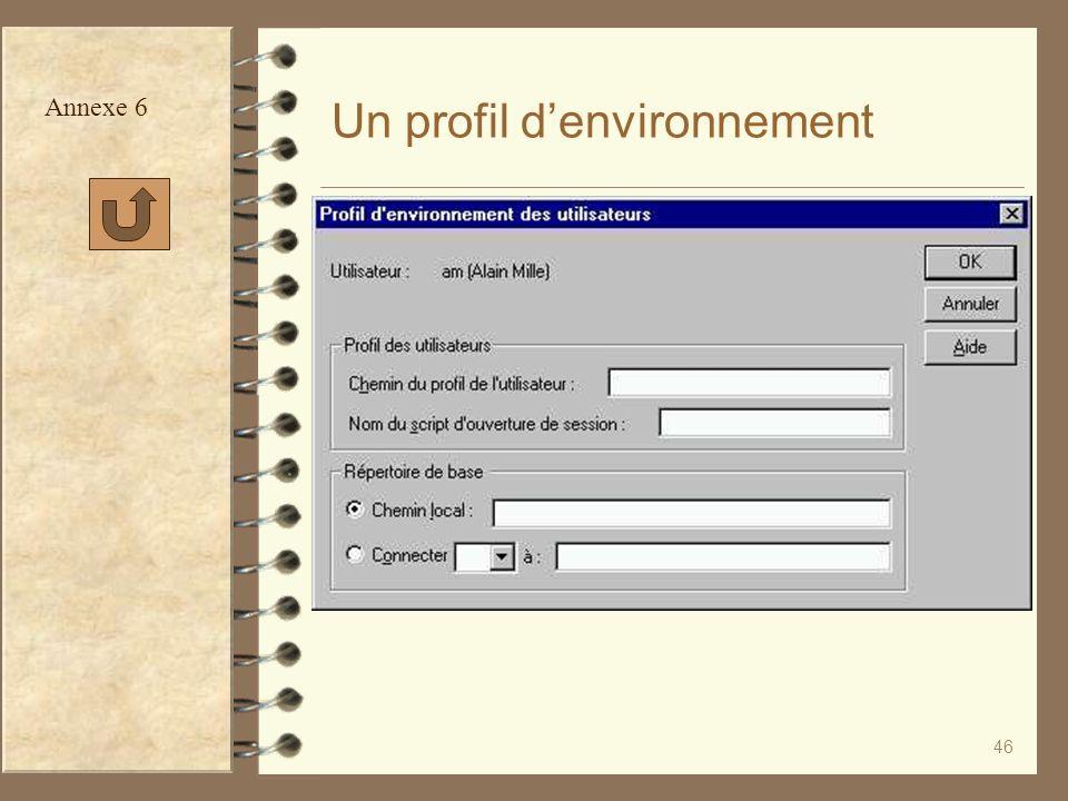 Un profil d'environnement