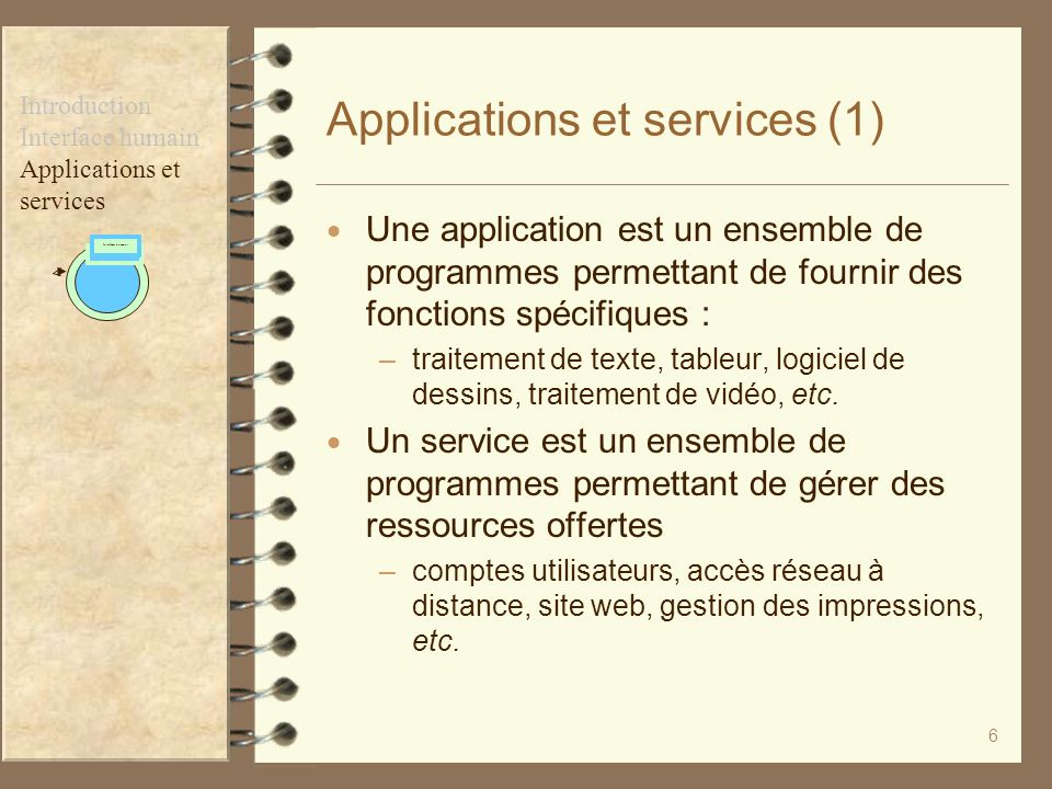 Applications et services (1)