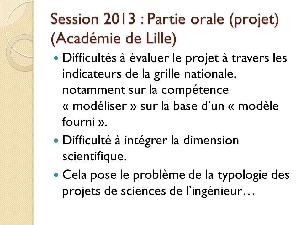Session 2013 : Partie orale (projet) (Académie de Lille)