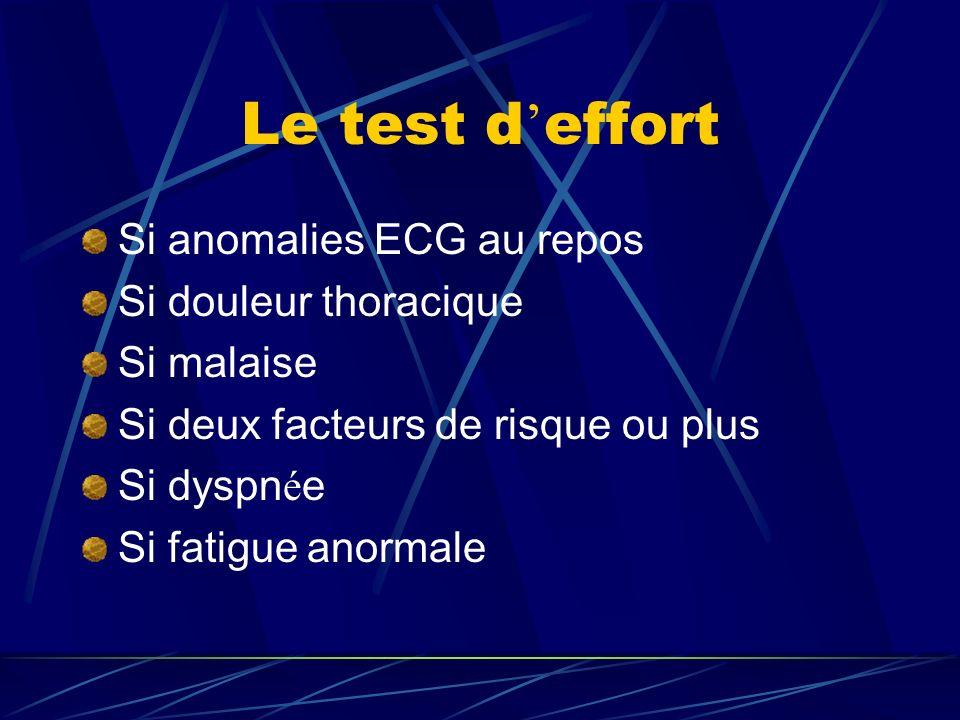 Le test d'effort Si anomalies ECG au repos Si douleur thoracique