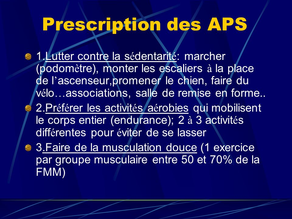 Prescription des APS