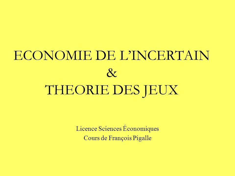 ECONOMIE DE L'INCERTAIN & THEORIE DES JEUX