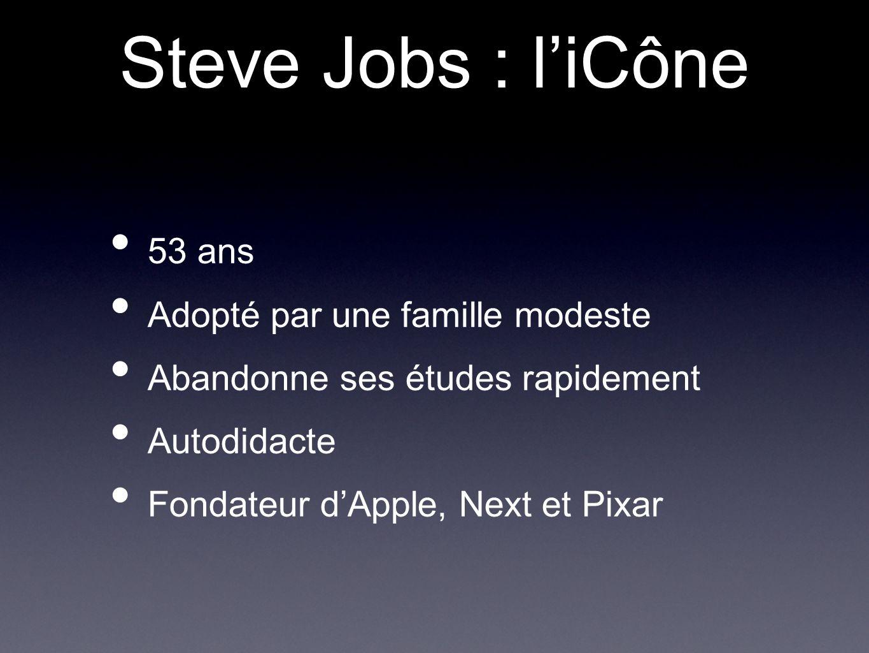 Steve Jobs : l'iCône 53 ans Adopté par une famille modeste
