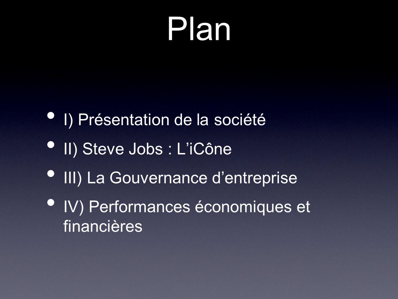 Plan I) Présentation de la société II) Steve Jobs : L'iCône
