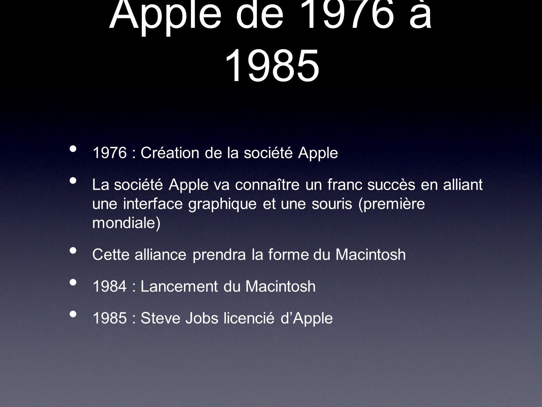 Apple de 1976 à 1985 1976 : Création de la société Apple