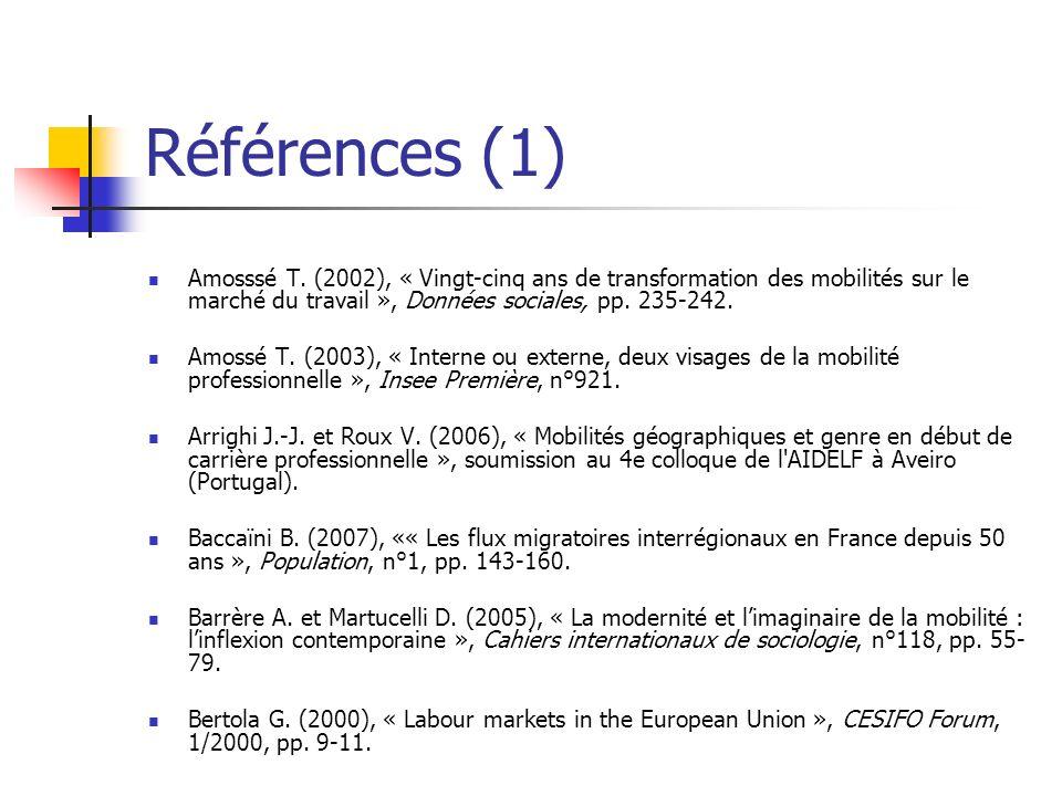 Références (1) Amosssé T. (2002), « Vingt-cinq ans de transformation des mobilités sur le marché du travail », Données sociales, pp. 235-242.