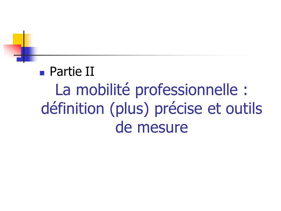 Partie II La mobilité professionnelle : définition (plus) précise et outils de mesure