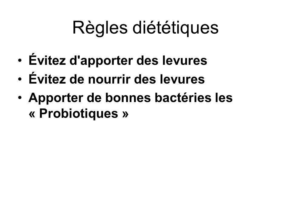 Règles diététiques Évitez d apporter des levures